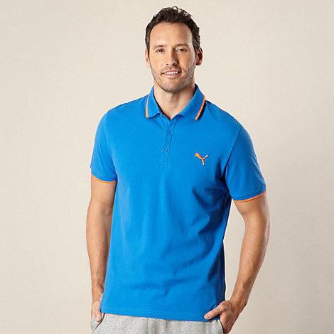 Puma - Mid blue pique polo shirt