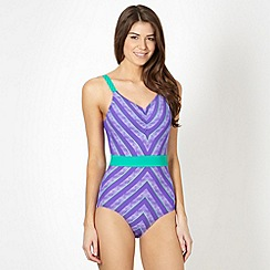 Speedo - Purple sculpting patterned swimsuit