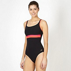 Speedo - Black placement striped body sculpting swimsuit