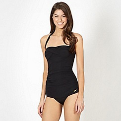 Speedo - Black sculpting halter neck ruched swimsuit