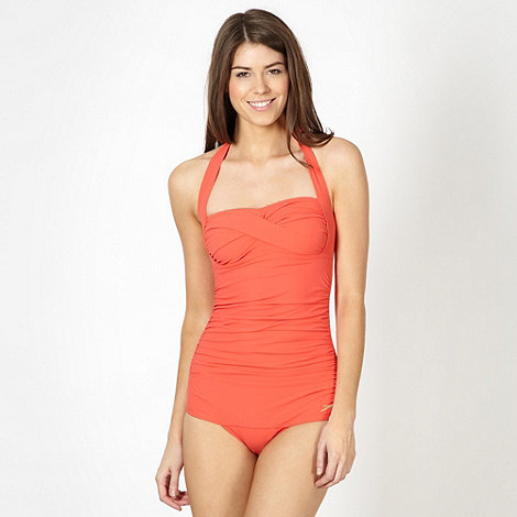 Speedo - Coral sculpting halter neck ruched swimsuit