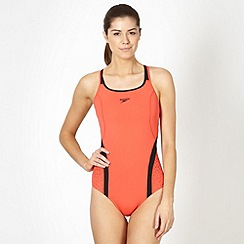 Speedo - Coral monogram pinnacle kickback core stability swimsuit
