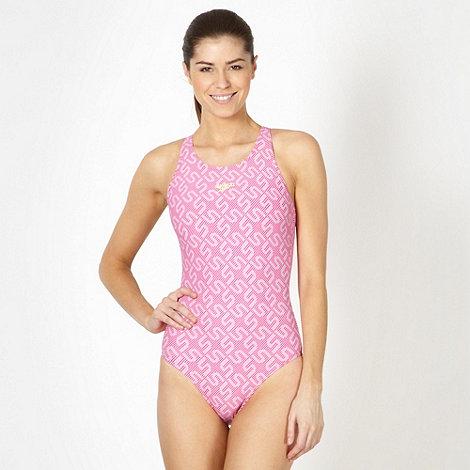 Speedo - Pink all over monogram swimsuit