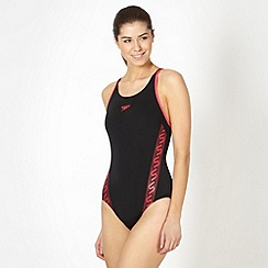 Speedo - Black/Pink Monogram Muscleback Swimsuit