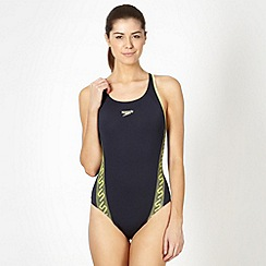 Speedo - Navy monogram panelled swimsuit