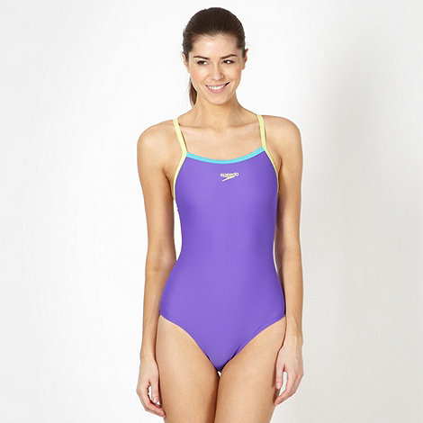 Speedo - Purple colour block thin strap swimsuit