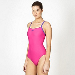Speedo - Pink colour block thin strap swimsuit