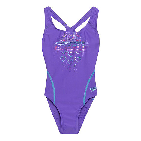 Speedo - Girl+s purple graphic placement logo swimsuit
