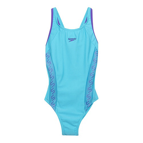 Speedo - Girl+s turquoise monogram swimming costume