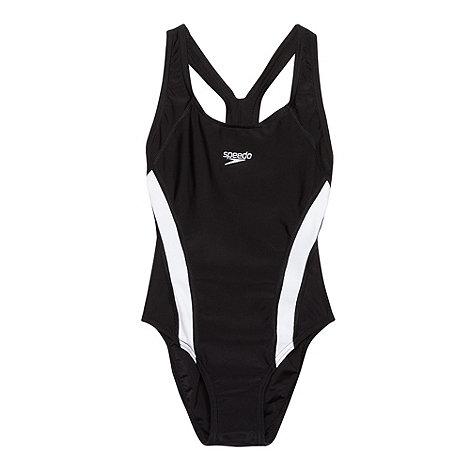 Speedo - Girl+s black panelled swimsuit