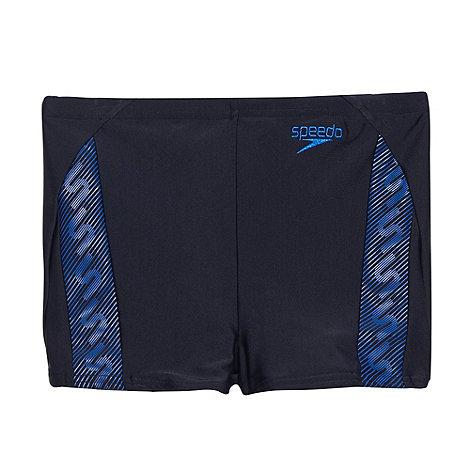 Speedo - Boy+s navy monogram swim shorts