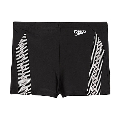 Speedo - Boy's black monogram swim shorts