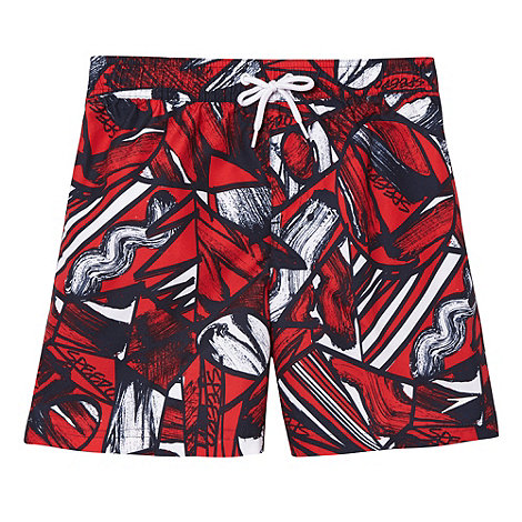 Speedo - Boy+s red printed swim shorts
