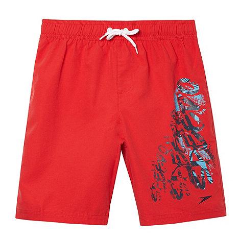 Speedo - Boy+s red graphic logo print swim shorts