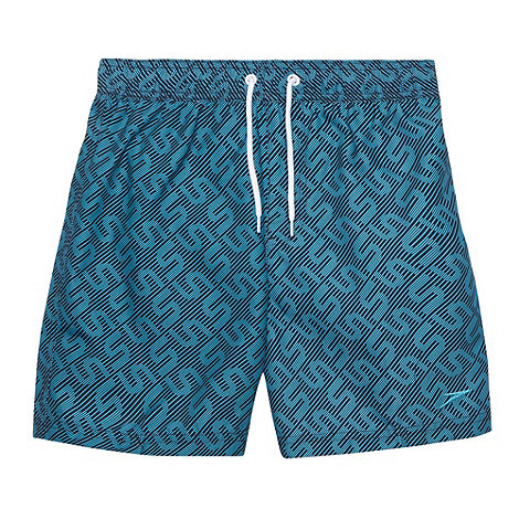Speedo - Boy+s blue monogram swim shorts