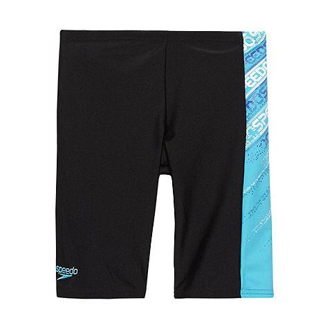Speedo - Boy+s black side logo jammer swim shorts