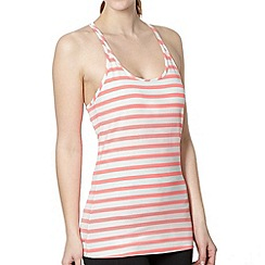 Reebok - Neon pink striped bust support fitted tank top