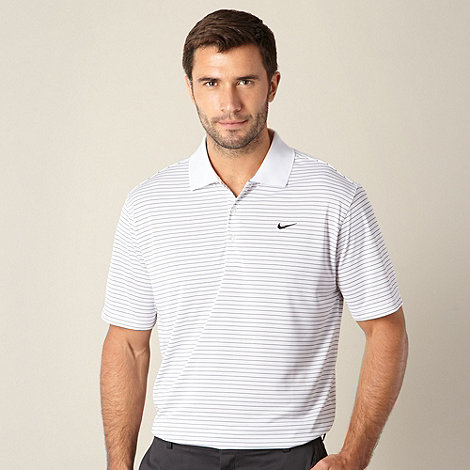 Nike - White striped +Victory+ performance golf polo shirt