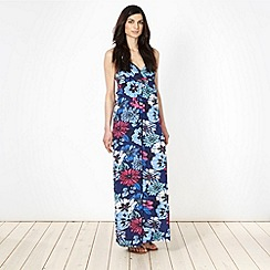 Animal - Navy floral halter neck jersey maxi dress