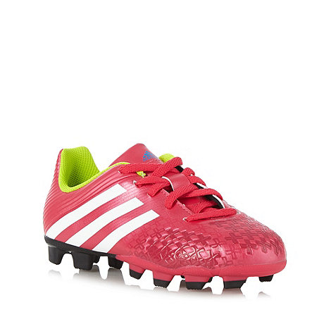 adidas - Boy's pink logo stripe 'Predito' firm ground football boots