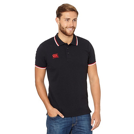 Canterbury - Black twin tipped pique polo shirt