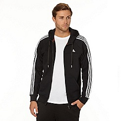adidas - Black zip through striped hoodie