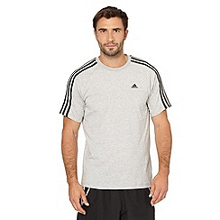 adidas - Grey three stripe performance t-shirt