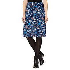 Weird Fish - Blue floral printed jersey skirt