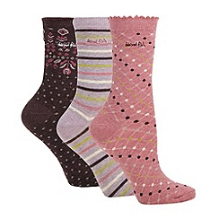 Weird Fish - Pack of three pink patterned socks