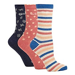 Weird Fish - Pack of three patterned blue socks