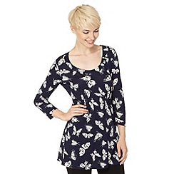 Weird Fish - Navy floral wrap front jersey tunic