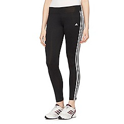 adidas - Black tight three stripe gym trousers