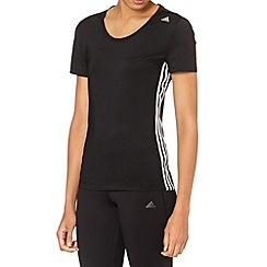 adidas - Black triple striped performance gym t-shirt