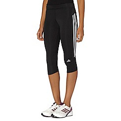 adidas - Black logo stripe capri pants