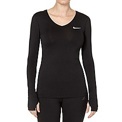 Nike - Black V neck long sleeve top