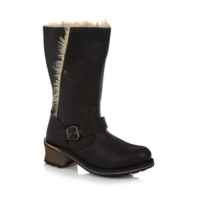 Caterpillar Black leather faux fur lined mid calf length boots - . -