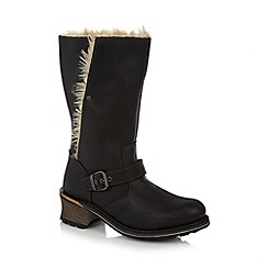 Caterpillar - Black leather faux fur lined mid calf length boots
