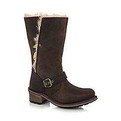 Caterpillar - Dark brown leather faux fur lined mid calf length boots