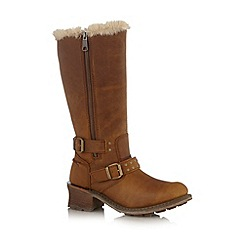 Caterpillar - Tan leather mid block heel boots