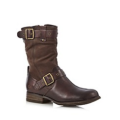 Caterpillar - Brown leather zipped mid ankle boots