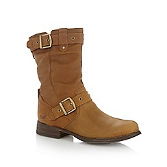 Caterpillar - Light brown leather zipped mid ankle boots