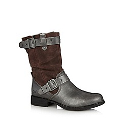 Caterpillar - Dark brown metallic buckle midi boots