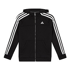 adidas - Boy's black zip through striped hoodie