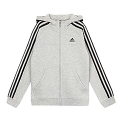 adidas - Boy's grey zip through striped hoodie