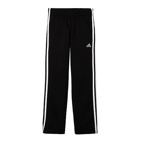 adidas - Boy+s black three stripe jogging bottoms