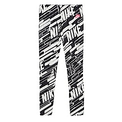 Nike - Girl's black graphic logo printed tight fit gym trousers