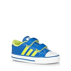 adidas - Boy's blue two tab striped canvas trainers