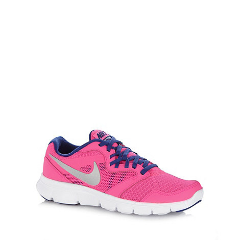 Nike - Girl+s pink +Flex Experience 3+ mesh trainers