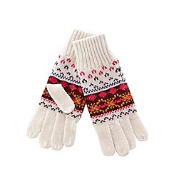 Helly Hansen - Cream fairisle knitted gloves