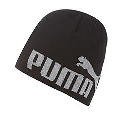 Puma - Black logo print knit beanie
